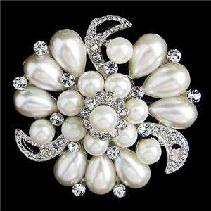 Bridal Pearl Flower Drop Brooch Pin Swarovski Crystal VTG Style