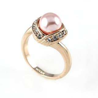 Pink Pearl CZ 18KT Yellow gold Plated Ring 225Jz