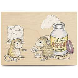 House Mouse Chewable Aspirin Wood mounted Rubber Stamp