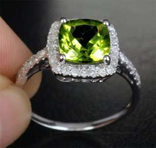 PERIDOT Solid 14K WHITE GOLD .45CT DIAMOND Engagement Wedding RING