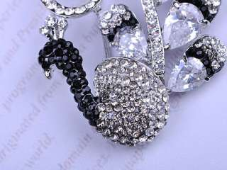 Black White Flourish Tail Mod Peacock Swarovski Crystal Rhinestone Pin