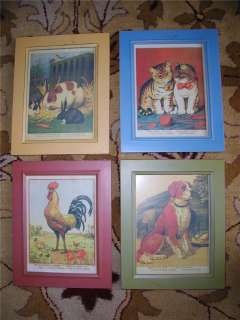 Country Farm Scene Pictures Cat Dog Rooster Bunny ART