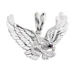Rhodium Coated CZ Flying Eagle Charm Pendant GoldenMine Jewelry