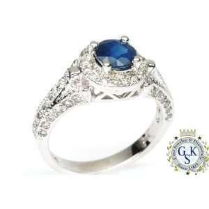 1.78 Ct Stunning Sapphire Diamonds 14K White Gold Ring