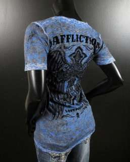 Womens Affliction Sinful T Shirt MEDIAN in Blue Burnout Tee Huge