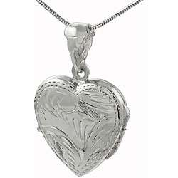 Sterling Silver Etched Heart Locket Necklace