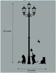 Cats & Lamp Wall Art Home Decal Animal Mural Paper Sticker (34*68cm