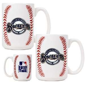 Milwaukee Brewers 2pc Gameball Ceramic Mug Set   Primary