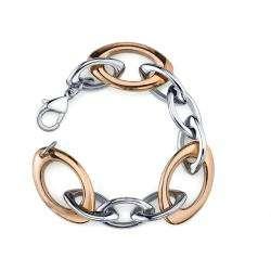 Stainless Steel Two tone Figaro Bracelet