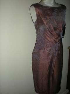NWT Adrianna Papell Beaded Shimmer Satin Dress 22W $160