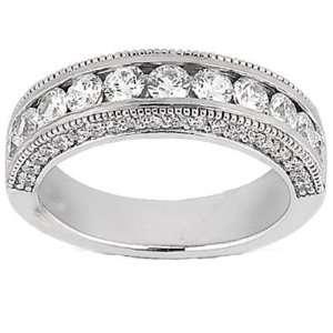 0.95 ct Ladys Round Cut Diamond Wedding Band in 14 kt