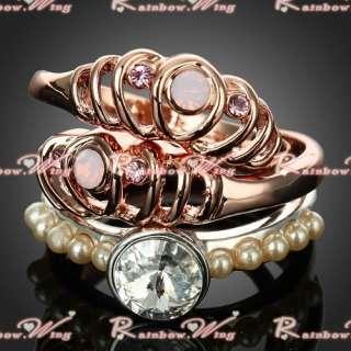 18K Gold Layering Charm Style Swarovski Crystal GP Ring