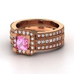 Va Voom Ring, Princess Pink Sapphire 14K Rose Gold Ring with Diamond