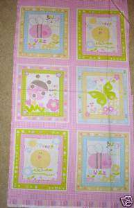 FABRIC PANEL~SCRIBBLES~BEE~BUTTERFLY~BIRD~LADY BUG~PINK