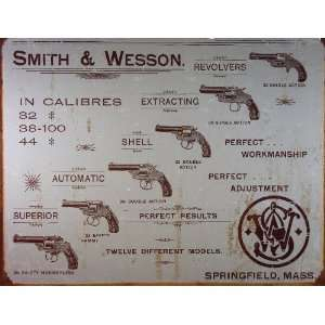 Smith and Wesson Revolver Sign Home & Kitchen