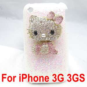 Bling bingly hello kitty white back hard skin case for iphone 3G 3GS