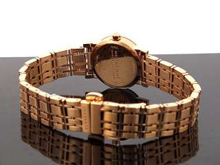 NEW Burberry Check Rose Gold Plated Bracelet Watch BU1865 MSRP $495
