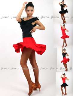 New ballroom latin dance dress top + skirt set salsa tango chacha