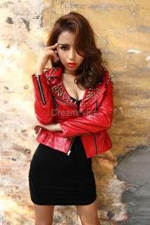 Rock Punk Black / Red Studded Rivet Spike Belted Leather Jacket Blazer