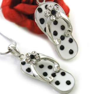 White Black Flip Flop Sandal Shoe Pendant Necklace n276