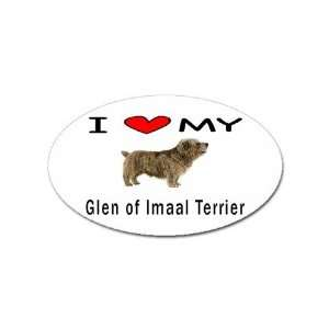I Love My Glen of Imaal Terrier Oval Sticker Everything