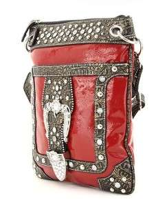 Black Crocodile Rhinestone Buckle Western Messenger Hipster Cross Body
