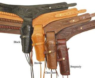 Gun Belt 48 NATURAL Holster WESTERN COWBOY Tooled Leather