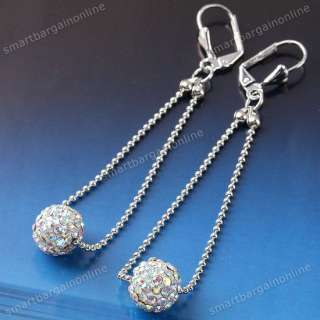 White Crystal Pave Disco Fimo Ball Rhinestone Ear Earring Lever Back