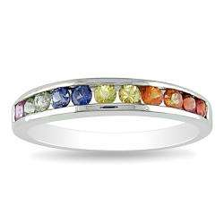 10k White Gold Multi colored Sapphire Ring