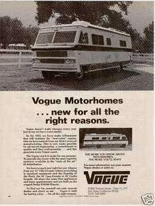 1975 VOGUE MOTORHOMES DODGE RV MOTOR COACH RV PRINT AD