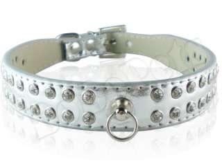 14 16 Silver Leather Rhinestone Dog Collar Medium M