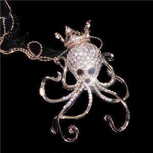 15 Octopus Crown Pendant Necklace Swarovski Crystal