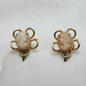 Estate Cameo Flower Clip On Earrings goldtone stud WOW
