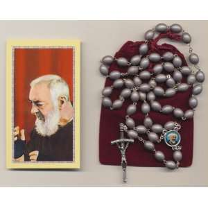 St Saint Padre Pio Relic Rosary Gray with Holy Prayer Card, Velour Bag