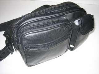 NEW BLACK LEATHER RECTANGULAR WAIST BELT FANNY PACK BAG