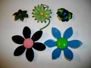 COOL LOT 12 FLOWER POWER ENAMEL METAL BROOCHS + 7 PRS EARRINGS & MORE