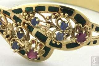 GOLD .60CTW RUBY/SAPPHIRE GREEN ENAMEL HINGED BANGLE BRACELET