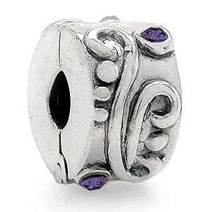 Crystal 925 Sterling Silver Lock European Charm Bead