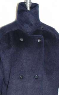 BLUE ~ MOHAIR + WOOL German WARM Winter Long COAT 14 L