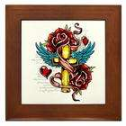 Inc 38.5x24.5O Wall Vinyl Sticker Roses Cross Hearts And Angel Wings