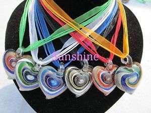lot 6pcs murano Lampwork glass heart pendant necklace