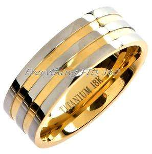 Titanium 18k Gold Plated Wedding Ring Band Comfort Fit Size 9