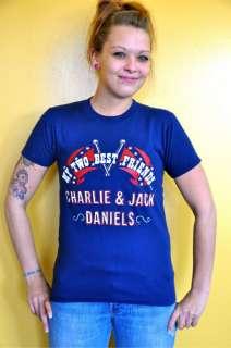 VTG CHARLIE & JACK DANIELS Band Tour Shirt 70s Southern Rock Rebel S