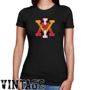 NCAA Virginia Military Institute Keydets Ladies Black Distressed Logo