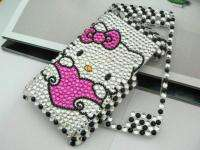 HELLO KITTY CAT skin Rhinestone handmade FULL Case fits Apple iPod