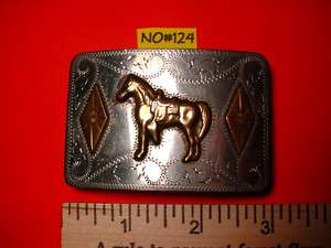 Vintage Nickel Silver RICARDO Saddle Horse Belt Buckle