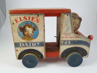 Vintage Fisher Price Toys Pull Toy Elsies Dairy Delivery Truck Borden