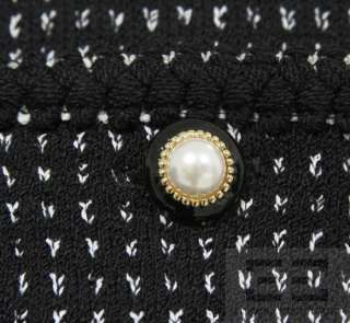 St. John Collection Black & White Knit Pearl Button Zip Up Jacket Size