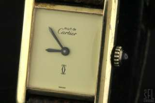 CARTIER VINTAGE VERMEIL GOLD STERLING SILVER TANK LADIES WATCH