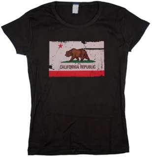 Distressed California Flag Jr Tee JUNIOR size T SHIRT